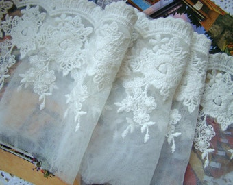 White embroidered lace trim, lace fabric, retro white lace fabric, cotton trim lace