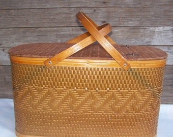 Vintage Picnic Basket Woven Basket with Handle French Market Wicker Basket with Lid
