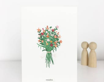 postcard bouquet of flowers card