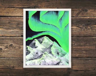 Northern Lights Prints, Aurora, Mountain Print, Mountain Painting, Northern Lights, Aurora Painting, Acrylic Painting, Glacier Print, North