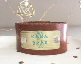 Mama Bear | Leather Cuff Bracelet