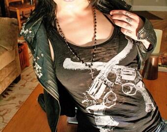 guns top, black tank top, free shipping etsy, heavy metal, womens gun tank, 1AEON womens black tank top, gun tank top, S