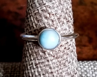 Larimar Sterling Silver Stackable Ring