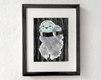 Sloth, Sloth gift, cute sloth, sloth print art, sloth decor, sloth art, sloth wall art, sloth art print, home decor, wall decor, wall art