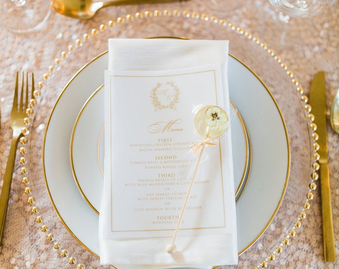 Vellum Metallic Gold Monogram Formal Elegant Printed Wedding Menu - Other Colors Available