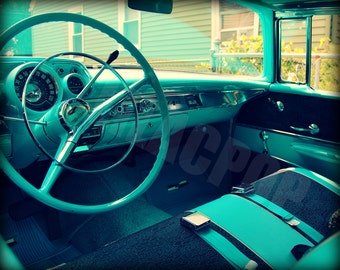 Turquoise Classic Car Steering Wheel Photograph On Metallic Paper