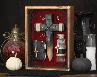 Monster Defense Halloween Decor - Vampire Shadow Box - Undead Decoration - Crucifix Stake - Holy Water - Bible - Silver - Halloween Wall Art