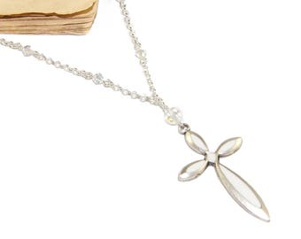 White Infinity Cross, Swarovski Crystal Necklace - Beautiful Christian Jewelry