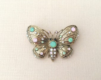 Antique Style Butterfly Brooch.Pink Green Butterfly Brooch.Butterfly Brooch.Crystal Butterfly.Butterfly Pin.Butterfly Broach.antique gold