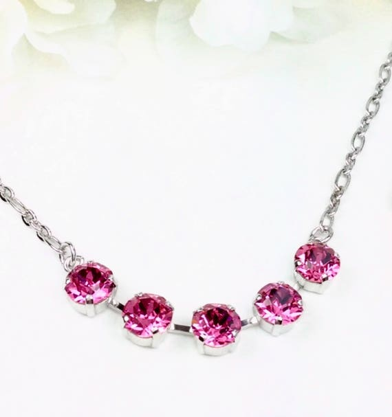 Swarovski Crystal 8.5mm -  FIVE Stone Necklace-  Very Classy - Perfect Christmas Gift!  - Choose Your Favorite Color  -  FREE SHIPPING