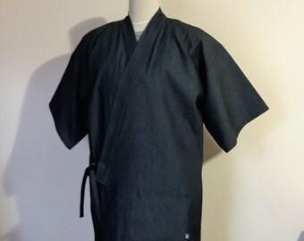 Men's KIMONO top JINBEI indigo navy denim SAMURAI style casual work shirt made to order