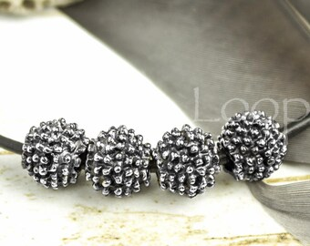 25%OFF 4 Bali Style Mykonos Greek beads Antique Silver 6mm Boho Rustic dotty Ball round bead beads with dots, Antiqued bead 4pcs