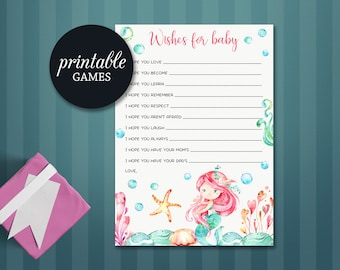 Wishes for baby Girl Mermaid Baby Shower Game Printable, Mermaid Wishes for baby, Baby Shower Wishes, Under the sea Baby Shower Games Girl