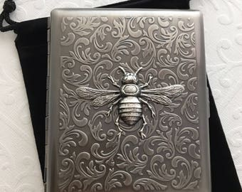 Antiqued Silver Bee Large Size Cigarette Case Extra Big Antiqued Silver Tone Metal Wallet Gothic Victorian Steampunk Big Bee Case