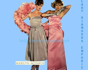 Butterick 6201 Marilyn Monroe Sexy 1953 Bombshell Dress Straight Maxi Skirt or Flared Skirt size 6 8 10 or 12 14 16 Uncut FF
