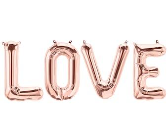 LOVE balloons - rose gold mylar foil letter balloon banner kit