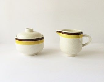 Vintage NuStone C1000 Creamer and Sugar by Premiere Oven to Table to Dishwasher Made in Japan