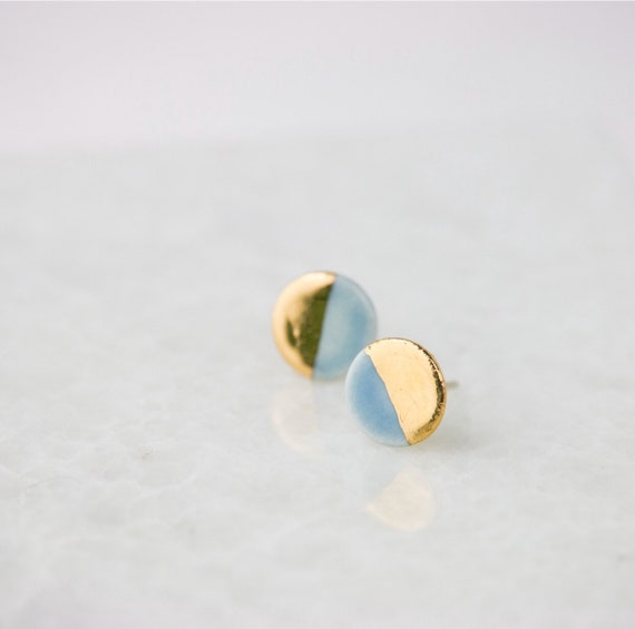 Tiny Round Handmade Stoneware Earring Stud Pair In Bright Colors Dipped In 22k Gold Luster With Sterling Silver Posts And Backs by Etsy
