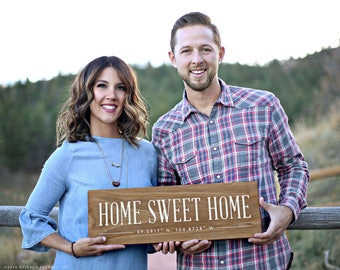 Personalized Home Sweet Home Sign, GPS Coordinates, Latitude Longitude Sign, Home Decor, Wedding Gift, Wood Signs for Home Decor (GP1193)