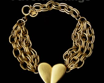Rare Givenchy Heart Bracelet Signed Extra Long Stunning Hallmarked Statement Golden Retro Chic Runway Couture Allure FavoriteBlings Retro