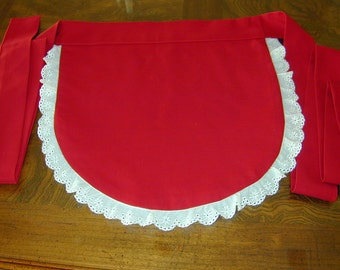 Red Cotton French Maid Waitress Apron