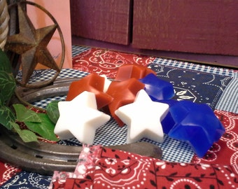 Patriotic Red White & Blue Fruit Scented Mini Star Glycerin Soap Set, Patriotic Party Favor, Star Soap, Star Soap Favor, Patriotic Gift