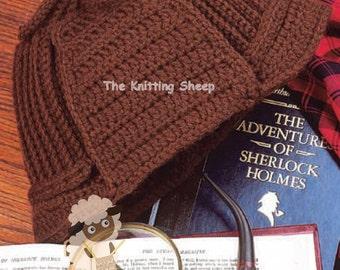 PDF Crochet Pattern for Retro Sherlock Holmes Deerstalker Hat  - Instant Download