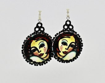 "Earrings with art motif ""SWEET LIKE HONEY"" from the kind of jewellery collection by Christine Haberstock"