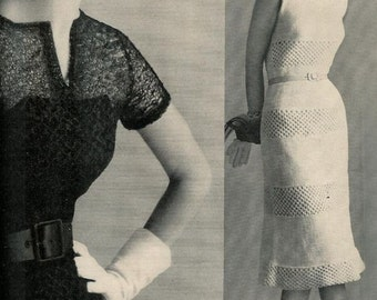 Vogue Knitting 1960 Two Vintage Evening Dress Patterns Retro Mod Mad Men