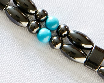 "Turquoise and Magnetite Magnetic Therapy Double Strand ""Sedona"" Bracelet"