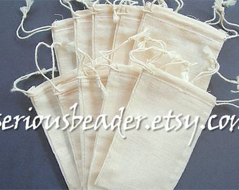 """Cotton Muslin Drawstring Bags Unbleached Lot of 10, 2.75"""" x 4"""" Business Card Size Teabags Eco-friendly 2-3/4"""" x 4"""" Herbal Craft Stamping"""