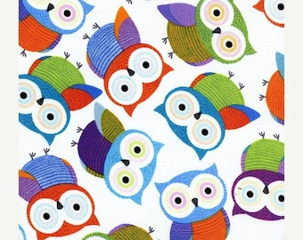 40% OFF SALE - Foxy Owls in White - Timeless Treasures Fabric  C1478  - By the Yard