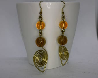 Dangle Drop earrings | Brass | beaded earrings