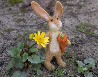 Wool Rabbit, Easter Bunny, felted bunny, needle felted rabbit, Easter rabbit with carrot, wool animal soft sculpture, felted animal