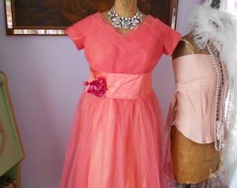 Beautiful Salmon Colored Plus Size Prom Dress
