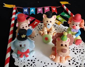 Circus Cake Topper, Circus Birthday Party, Carnival Cake Topper, Clown Cake Topper, Carnival Cake Decor, Circus Animal, Carnival Baby Shower