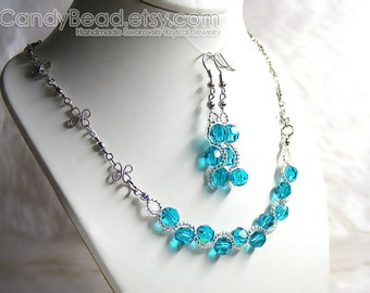Swarovski Crystal Necklace And Earrings, Blue Zircon Set By CandyBead
