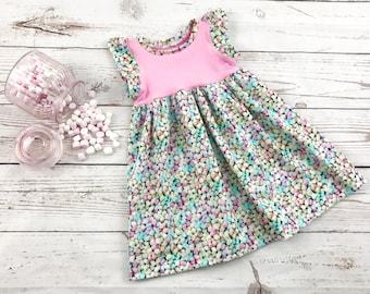 Mini Marshmallow Baby / Toddler / Children's Flutter Sleeve Dress - Retro Sweets - Sweet Kids Clothing - Pink Marshmallow Dress