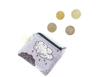 Tiny zipper pouch, Rain cloud coin purse, Earbud keychain wallet, Sanitary pad pouch, Teenage girl gifts