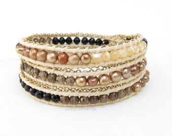 Brown black beaded triple wrap bracelet with gold chain triming on polyester cord, freshwater pearl, mother of pearl, stone, smokey quartz