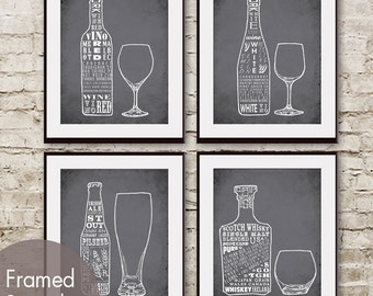 Red Wine, White Wine, Beer and Whiskey (Top Shelf Alcohol Series) Set of 4 - Art Prints (Featured in Charcoal)