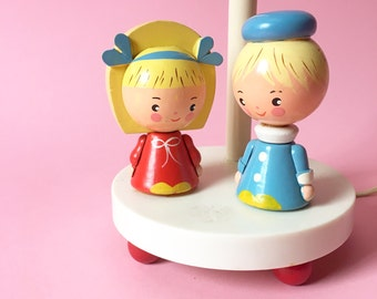 Vintage Irmi Nursery Originals, Children's Lamp, German, Boy Girl Light, Child's Room Decor, Handpainted Wooden Children