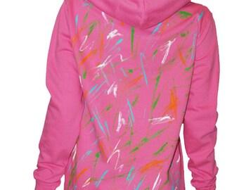 "Sweatshirt pink ""vest-e-bubble"" women with hood, hand painted, sweatshirt, size 38-40 (M)."