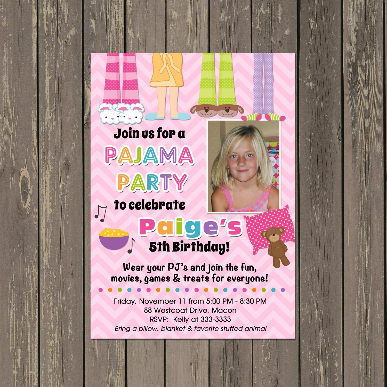 Pajama Party Sleepover Birthday Party Invitation Faux Slumber