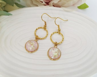 Gold earrings, gold leaf earrings, pink earrings, gold circle earrings, geometric drop earrings, gold dangle earrings, textured earrings