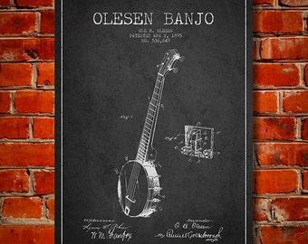 1895 Olesen Banjo Patent, Canvas Print, Wall Art, Home Decor, Gift Idea