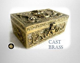 Oriental vintage cast brass lidded box with dragon designs