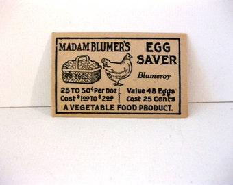 Vintage Madam Blumer's Egg Saver Envelopes, (2) Chicken and Egg Basket Illustration