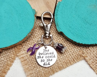 DP-3 Fibromyalgia Ulcerative Colitis Crohns Chiari Awareness Keychain Gift For Her She Believed She Could So She Did Charm Key Chain