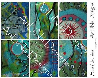 Sea Urchins Printable Art Journal Cards, 3x4, Digital Download